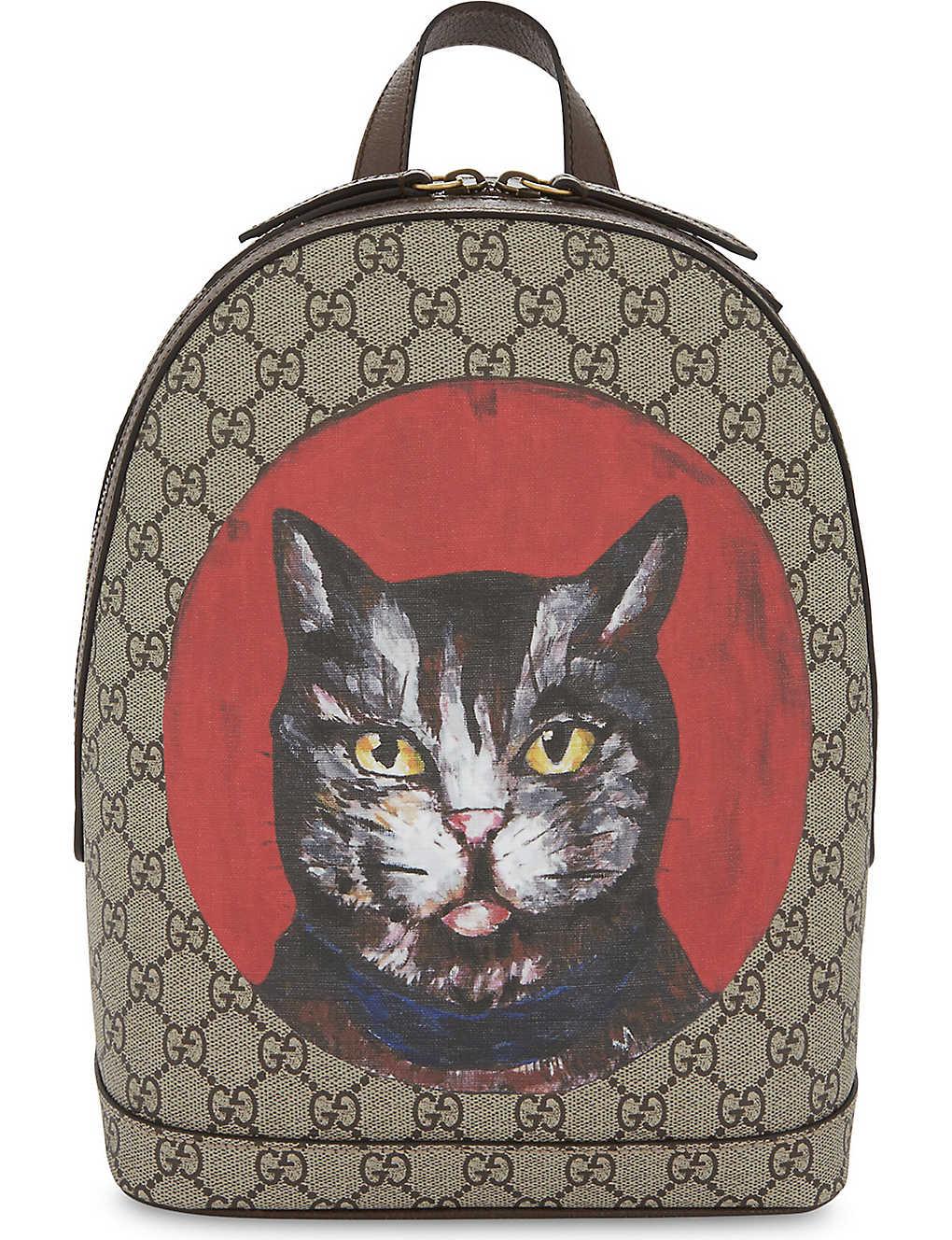 cd1035de180c GUCCI - Bestiary cat GG Supreme backpack | Selfridges.com