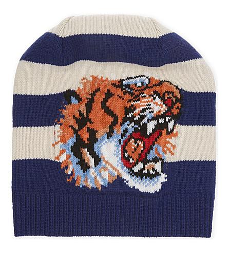 21559872c8249 GUCCI Tiger striped beanie (Sapphire+ivory