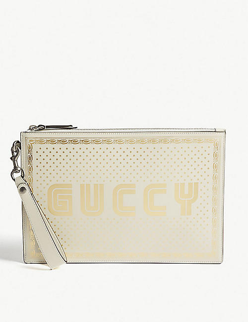 53d6d6698c4 GUCCI - Guccy print leather zipped pouch