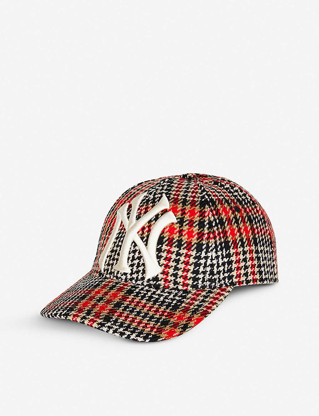 95d807e12 GUCCI - New York Yankees™ checked woven baseball cap   Selfridges.com
