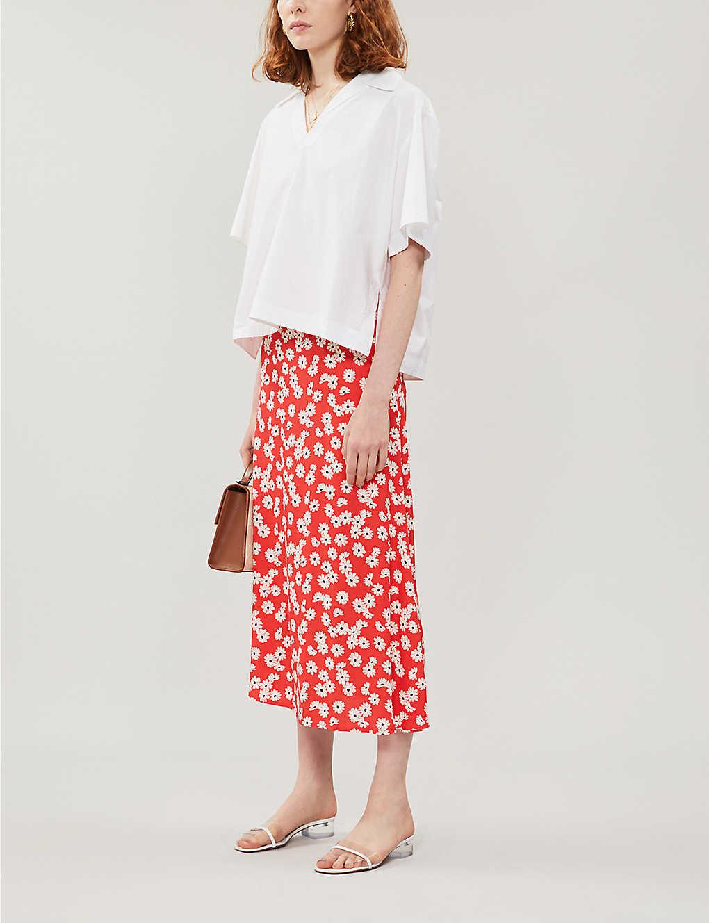 Bea floral-print crepe midi skirt - Oopsie daisy Sustainable Reformation Selfridges