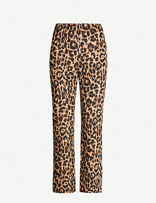 REFORMATION: Marlon leopard-print stretch-twill trousers