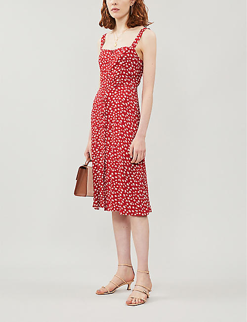 REFORMATION Persimmon floral-pattern crepe midi dress