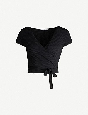 REFORMATION Flora wrap front jersey top