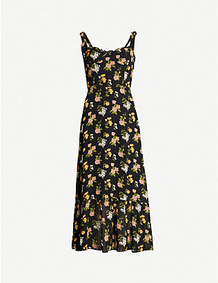 REFORMATION: Nikita floral-pattern crepe midi dress