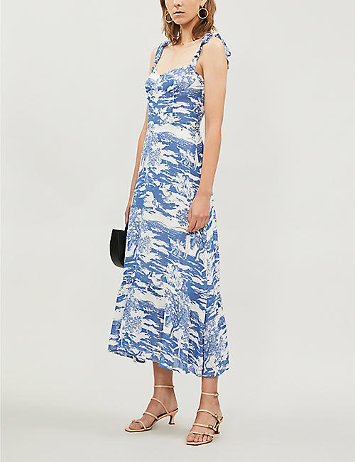 REFORMATION Nikita floral-pattern crepe midi dress
