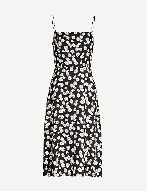 REFORMATION Peach floral-print crepe midi dress