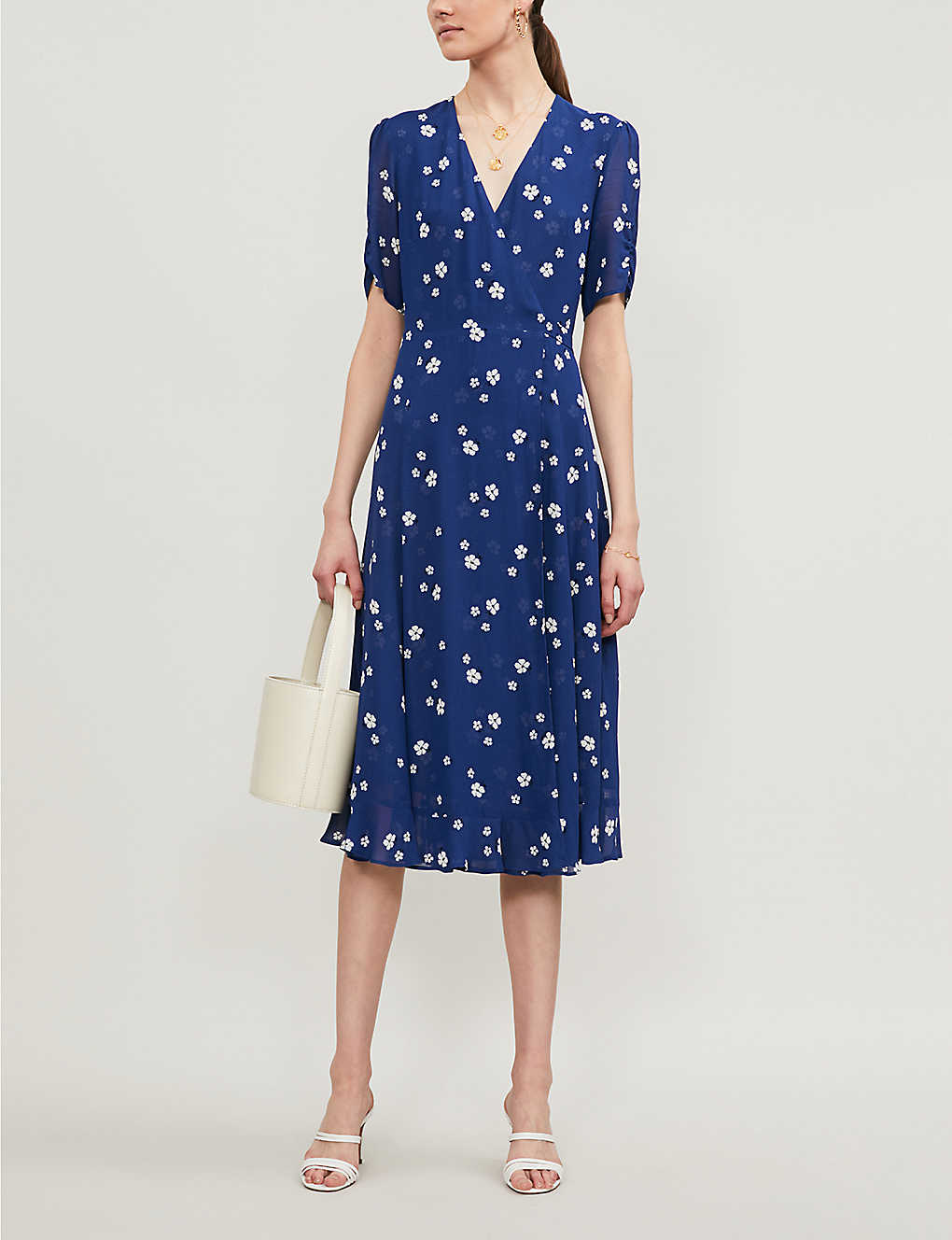 Napa floral-print crepe midi dress Reformation Selfridges Sustainable
