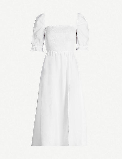 REFORMATION Marabella flared-cuffs linen midi dress