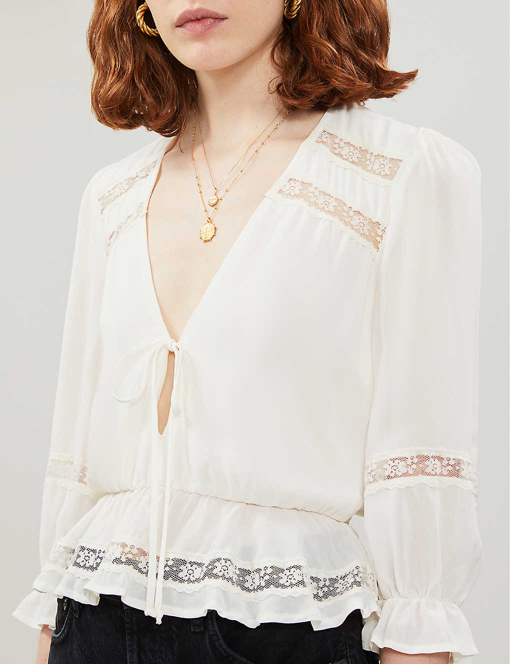 Emily V-neck rayon top - Ivory Selfridges Sustainable Reformation