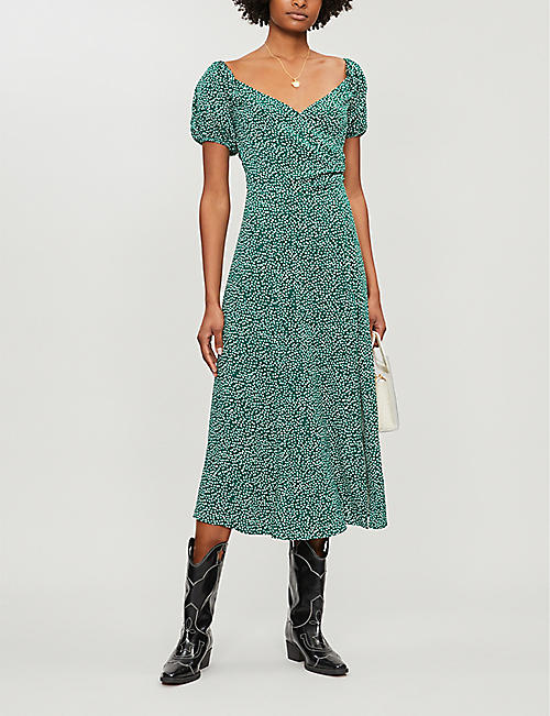 REFORMATION Pearl floral-print crepe midi dress