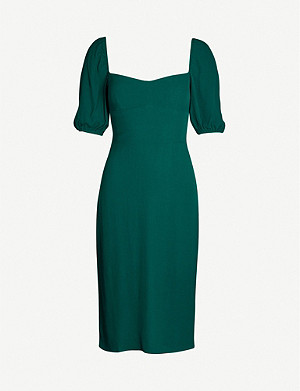 REFORMATION Jan puffed-sleeve crepe midi dress