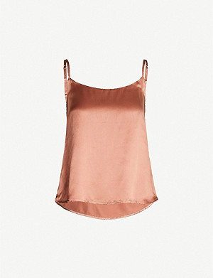 REFORMATION Nevada strappy silk-satin top