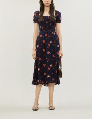 Inka Floral Print Crepe Midi Dress by Reformation