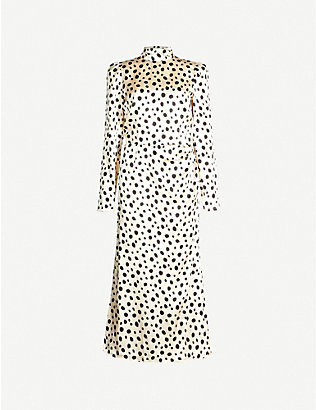 REFORMATION: Carmelina polka-dot silk midi dress