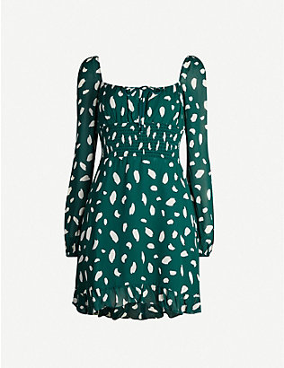 REFORMATION: Rue abstract dot-print crepe mini dress