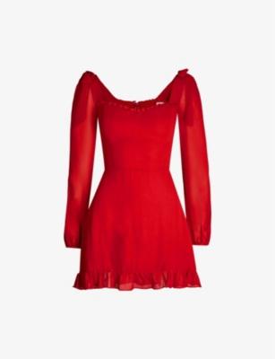 Elin ruffled-trim crepe mini dress - Cherry