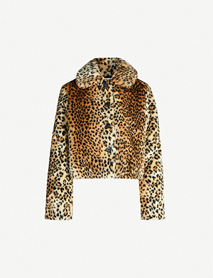 REFORMATION Hampton leopard-print faux-fur coat