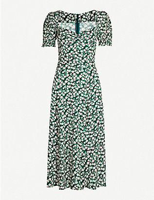REFORMATION: Lacey abstract-print crepe midi dress