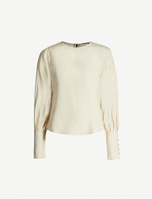 REFORMATION Mariana puffed silk-satin blouse