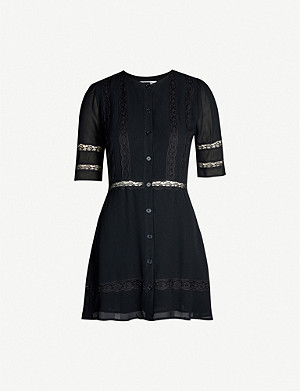 REFORMATION Sonnet crepe and lace mini dress