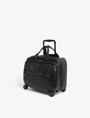 TUMI Alpha 3 leather laptop rolling briefcase