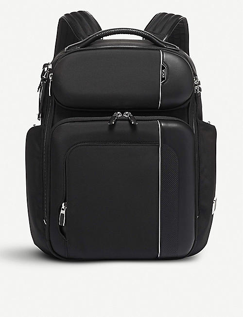 TUMI Barker woven and leather backpack