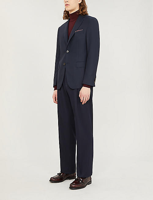 PAL ZILERI Regular-fit single-breasted wool blazer