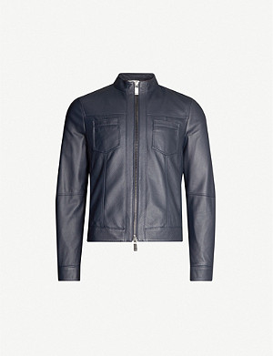 PAL ZILERI Long-sleeved relaxed-fit leather jacket
