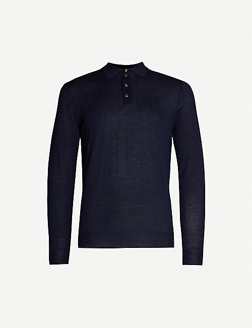 PAL ZILERI Relaxed-fit semi-sheer cashmere polo shirt