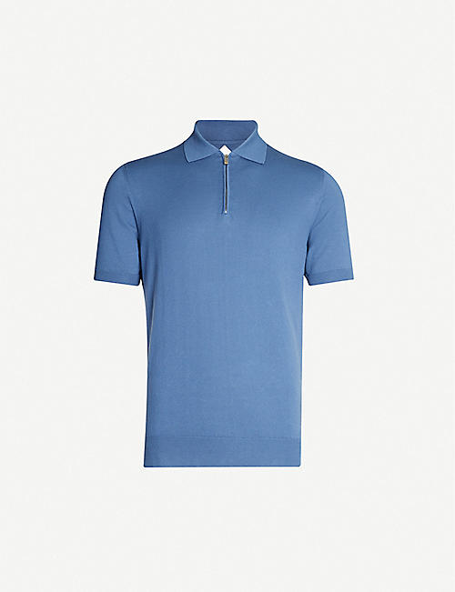 PAL ZILERI Relaxed-fit short-sleeved cotton-knit polo shirt