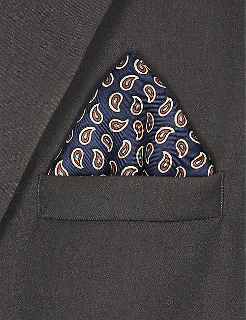 PAL ZILERI Mini paisley print silk pocket square