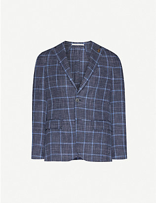 PAL ZILERI: Tartan-print regular-fit cotton-blend blazer