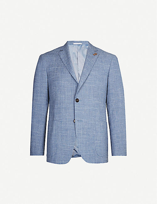 PAL ZILERI Single-breasted wool, cotton and linen-blend blazer