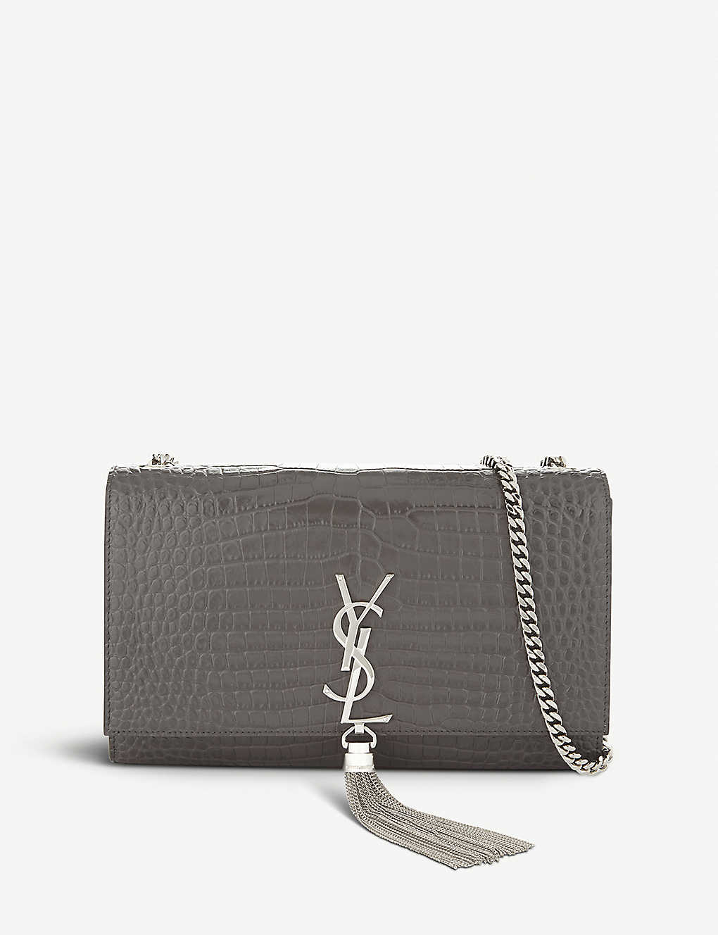 1f6890dcb69 SAINT LAURENT - Kate Tassel croc-embossed tassel leather shoulder ...