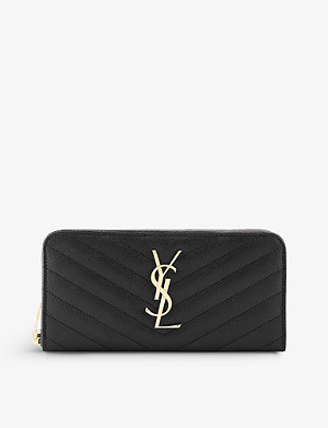 SAINT LAURENT Monogram quilted leather zip-around purse