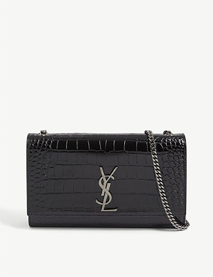 SAINT LAURENT Kate croc-embossed leather wallet-on-chain