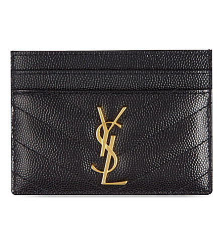 Monogram Card Case In Grain De Poudre Embossed Leather, Black