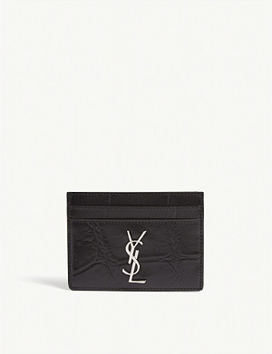 SAINT LAURENT Croc-embossed leather card holder