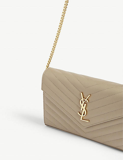 SAINT LAURENT Monogram quilted leather clutch