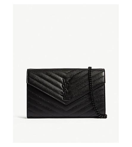 7490a2ea4dc81 SAINT LAURENT - Monogram quilted leather envelope clutch ...