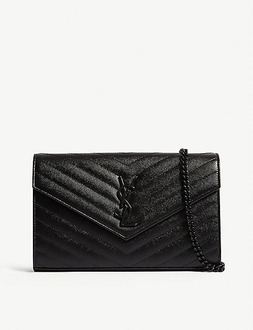 SAINT LAURENT: Monogram quilted leather envelope clutch