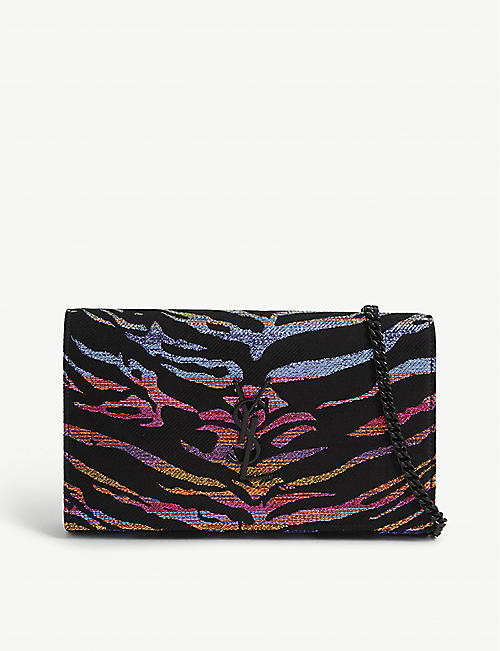 SAINT LAURENT: Monogram lamé tiger-printed wallet-on-chain