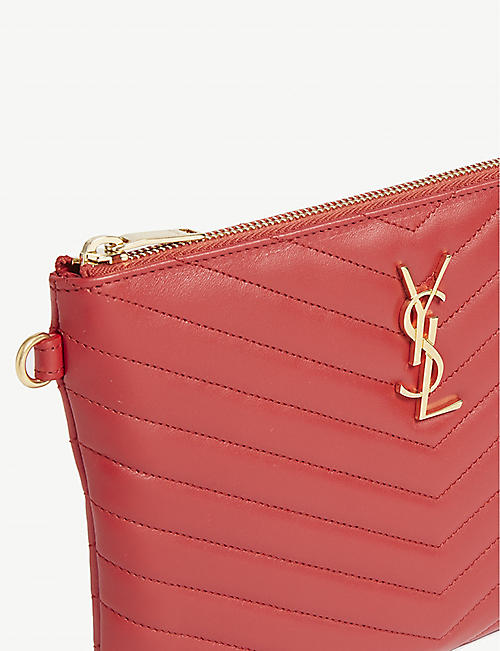 SAINT LAURENT Monogram logo quilted leather pouch