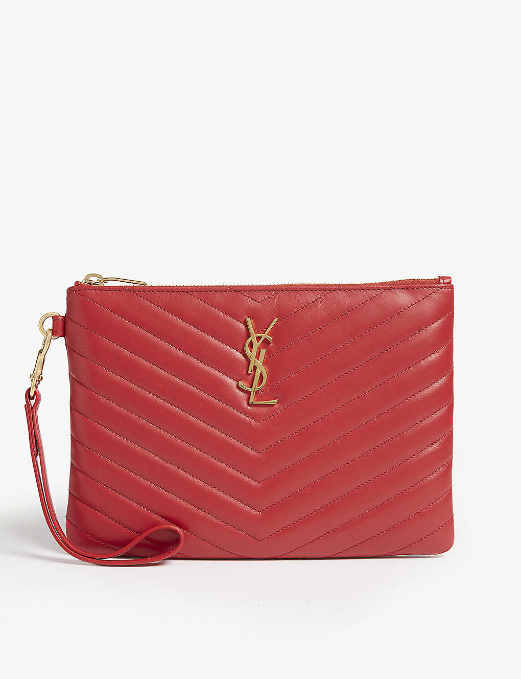cee31e68689 SAINT LAURENT - Monogram logo quilted leather pouch | Selfridges.com