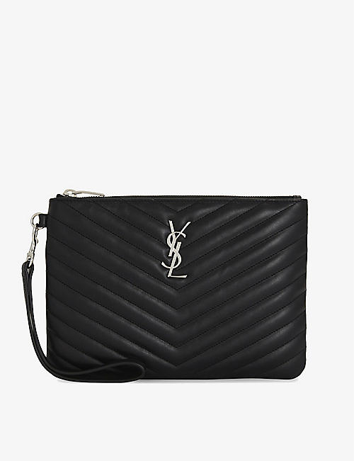 SAINT LAURENT Quilted monogram leather pouch b140fcc89f54f