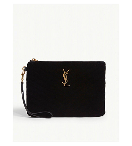 ... SAINT LAURENT Monogram quilted velvet pouch (Black. PreviousNext b75d014114b93