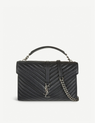 SAINT LAURENT Monogram Collège quilted-leather satchel