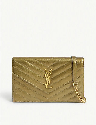 SAINT LAURENT: Monogram metallic leather wallet-on-chain