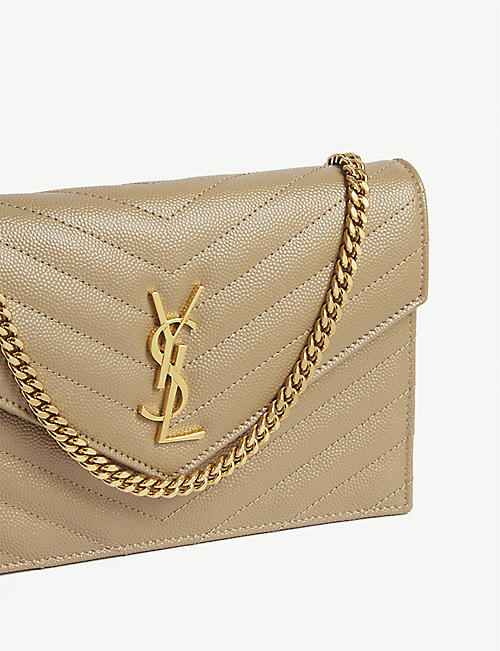 SAINT LAURENT Monogram leather envelope wallet-on-chain